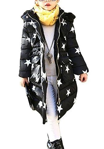 MILEEO Kinder Mädchen Winterjacke mit Kunstpelz Tailliert Lang Jacket Wintermantel Mantel Parka Oberbekleidung Winter