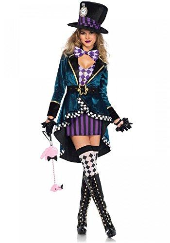 Delightful Hatter Leg Avenue Damen-Kostüm - Verrückter Hutmacher Alice im Wunderland, Größe:M