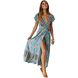 Mujeres Sexy Cuello En V Vestidos Bohemio Wrap Floral Impreso Vintage Estilo étnico de Alta Split Beach Maxi Vestido Verde XL