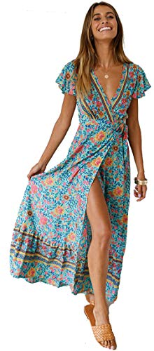 Mujeres Sexy Cuello En V Vestidos Bohemio Wrap Floral Impreso Vintage Estilo étnico de Alta Split Beach Maxi Vestido Verde S