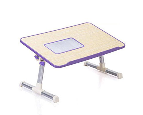 WD-Wall Table Leichte Laptop-Tabelle, Laptop-Stand-Höhe und Winkel-justierbares faltbares Laptop-Bett-Behälter mit USB-Kühler-Notizbuch-Stand (Color : Purple)