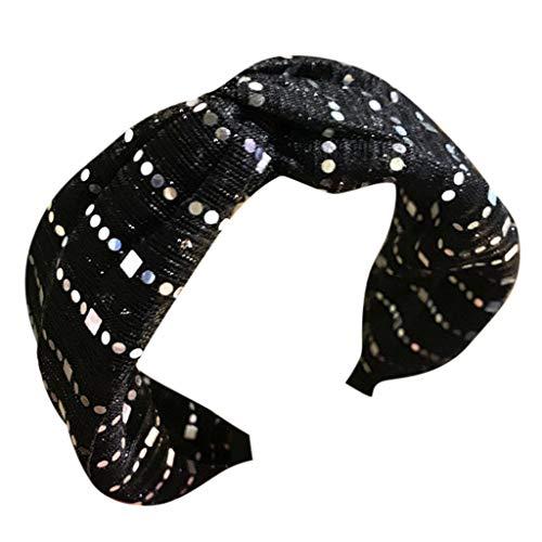 SO-buts Frauen Kristall Stirnband Stoff Haarband Kopf Wickeln Haarband Zubehör, Haarschmuck Stoff Spitze Stirnband breite Seite Mitte Kreuz Knoten Bogen Stirnband Haarnadel(Schwarz)