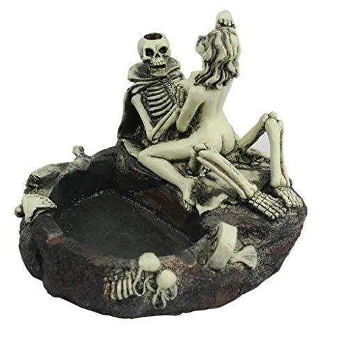 QinMM Halloween Skeleton Kopf Schädel Stil Harz Simulation Kopf Aschenbecher Zigaretten Halloween Dress Up Requisiten Dekoration - Zigarette Mädchen Kostüm