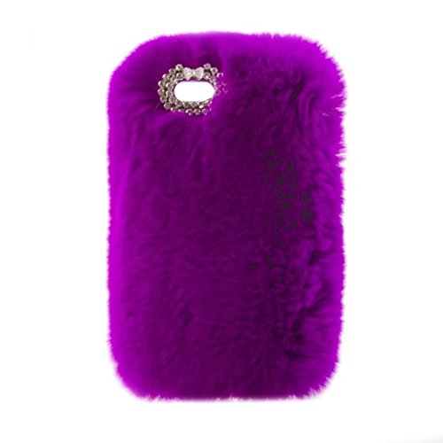 Schutzhülle für iPod Touch 6, Lovely Warm Handmade Bunny Furry Luxus Bling Kristall Strass Soft Beaver Rex Kaninchen Ohr Fell Schutzhülle für Apple iPod Touch 56. Generation, C Bowknot-Purple - 5 Ipod Touch Fällen Furry