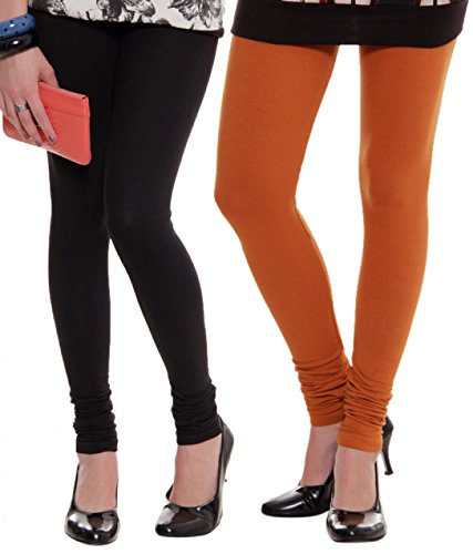 M.G.R.J Women\'s Cotton Lycra Churidar Leggings Combo (Pack of 2 Black, Orange ) - Free Size