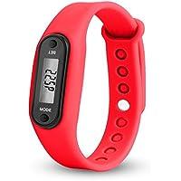 Aubess - Pulsera de reloj «Run Step» con podómetro y contador de calorías - de silicona, con pantalla digital LCD, 0.07, color Red