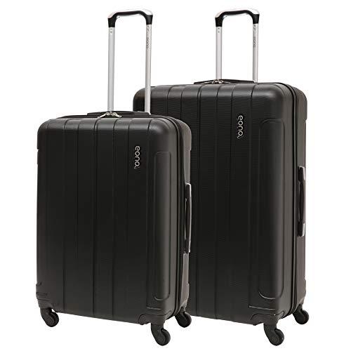 EONO Essentials - Set di 2 Trolley in ABS - Valigie rigide e leggere con 4 ruote - Bagaglio medio 71cm + bagaglio grande 81cm - Nero