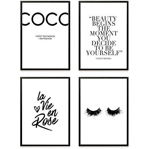 Heimlich® Premium Poster (4 Stück in DIN A3)   Viele weitere Motive im Shop   ohne Rahmen » Coco Chanel «