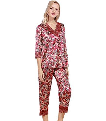 GHFDSJHSD Frauen Damen Satin Pyjamas Blumen Jacquard Traditionelle Seide Pyjamas Frühling Herbst, one Size