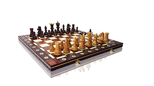Exclusive AMBASSADOR DE LUXE CHERRY 54cm / 21in Premium Quality Wooden Chess Set, Handcrafted Classic Game