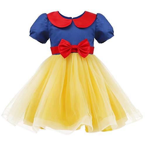 (FYMNSI Schneewittchen Kostüm Kleid Verkleidung Kinder Baby Mädchen Märchen Prinzessin Tütü Tüllkleid Geburtstag Partykleid Festliches Abendkleid mit Stirnband Halloween Weihnachten Cosplay Outfit)