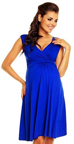 *Zeta Ville Damen Schones Umstandskleid Sommer Kleid Zum Stillen Geeignet 256c Konigsblau, Gr  EU 42, L*