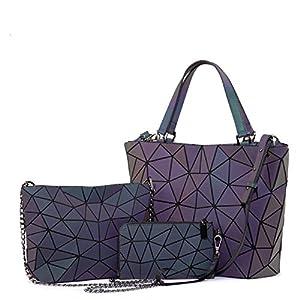 LOVEVOOK Handtasche Damen Geometrische Tasche Schultertaschen Umhängetaschen Einzigartige Geldbörsen und Handtaschen Dreiteiliger