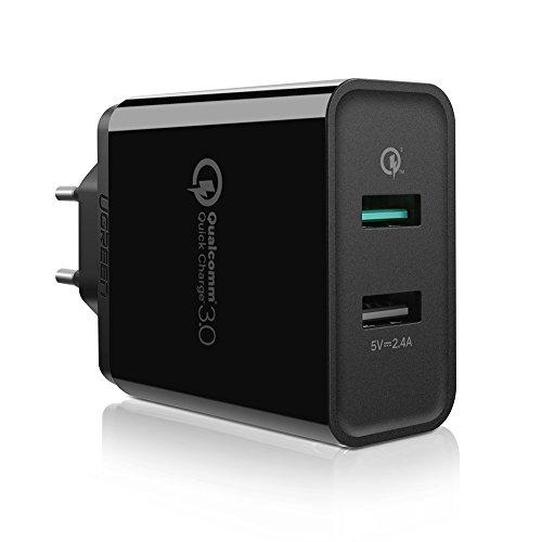 UGREEN Quick Charge 3.0 30W (QC 3.0 + 2.4A) Chargeur Secteur USB Rapide QC 3.0 Recharge Jusqu'à 4X Plus Rapide Compatible avec Samsung S8 Plus, Huawei Mate 10, iPhone X/ 8 Plus/ 8, etc. (Noir)