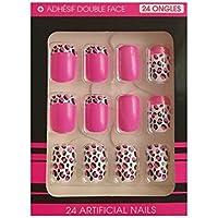 Falso Uñas Adhesivos Blanco Y Rosa Y Diseño Leopardo Rosas Y Negros