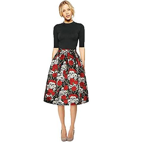 Bekleidung Loveso Rock Sommerkleider Herbst Kleidung Damen Schädel Rosen Muster Halloween Kostüm Party Skirt Mini Kleid ((Größe):38 (L), Rot)