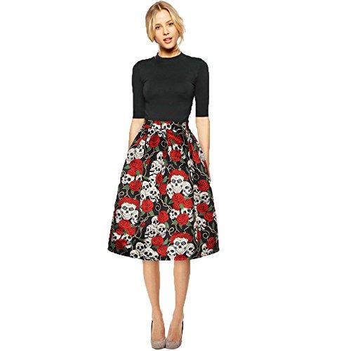 Bekleidung Loveso Rock Sommerkleider Herbst Kleidung Damen Schädel Rosen Muster Halloween Kostüm Party Skirt Mini Kleid ((Größe):38 (L), (Asian Halloween Kostüm)