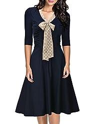 Miusol® Damen V-Ausschnitt Abendkleid Schleife Cocktailkleid Vintage 50er 60er Jahr Party Stretch Kleid Blau EU 36-48