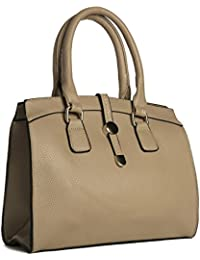 c964d245d678 Big Handbag Shop Womens Vegan Leather Medium Size Top Handle Satchel Shoulder  Bag in Various Design