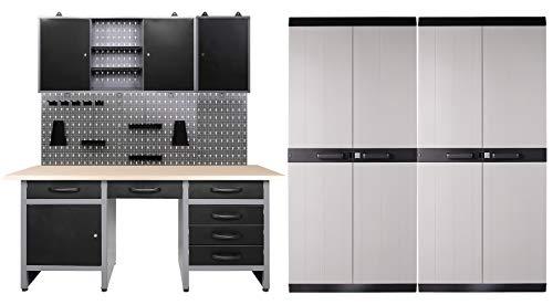 Ondis24 Werkstatteinrichtung 350 x 60 x 205 (H) cm, Arbeitshöhe 85 cm, mit 2 x MEGA XL Schrank, bestehend aus Werkbank, 2 x Werkzeugschrank, Euro-Lochwand 22 Haken, Metall, Justierfüße, abschließbar