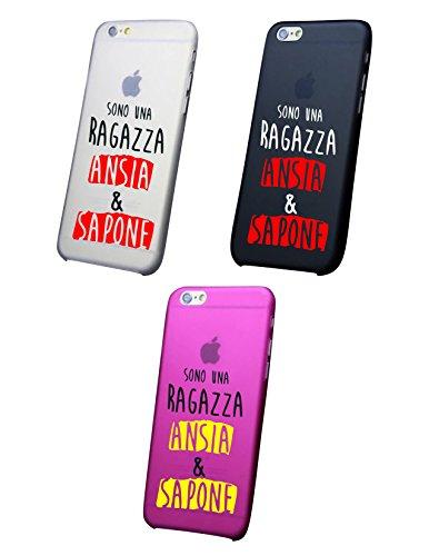 Cover IPHONE X-8-8PLUS 6 - 6 PLUS - 6S - 6S plus - 7 - 7 plus - SONO UNA RAGAZZA ANSIA E SAPONE Trasparente VARI COLORI UltraSottili AntiGraffio Antiurto Case Custodia (IPHONE X, ROSA)