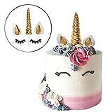 Decoración para tarta de cumpleaños de unicornio. Unicorn Horn, Ears and Eyelash Set Decoración de fiesta de unicornio para baby shower, boda y fiesta de cumpleaños dorado