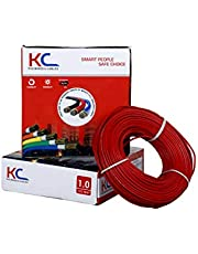 DMT KC-Cab PVC nsulated Wire 1.0 Sq/mm Single Core Flexible Copper Wires and Cables for Domestic/Industrial Electric, 90 Meter Coil (Red)