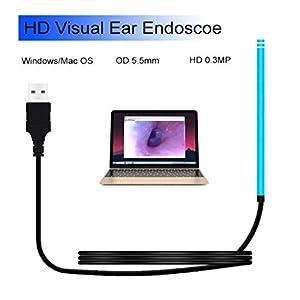 MZ Ohr-Endoskop-Augen-Ohr-Löffel-Ohr-Spekulum 6 LED-Lichter 5.5mm Ohr-Kanal-Reinigungs-USB-Schnittstelle für Windows/Mac OS