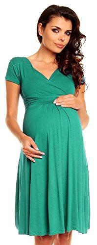Zeta Ville - Women's Maternity Wrap V-neck Summer Dress - Short Sleeves - 108c (Teal, UK 8, S)