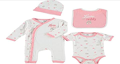 4 Piece White & Peach Christmas Gift Set Includes-Sleep Suit,