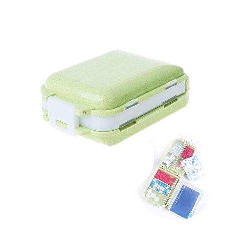 Haorw Tablettenbox Pillendose Medikamentenbox Pillenbox, 8 Fach (Grün)