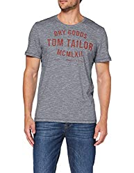 TOM TAILOR Herren Casual Logo T-Shirt, Weiß (Navy White Yarndye S 19493), X-Large