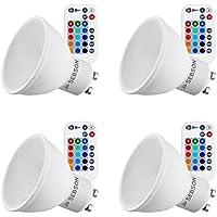 SEBSON® 4x GU10 LED Color, 15 RGB + Calido Blanca 2700K, regulable, Mando, 5W LED Bombilla