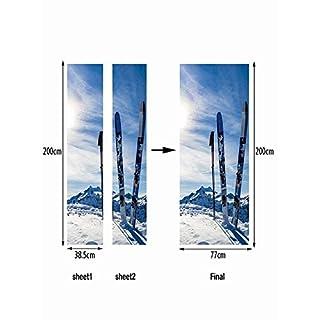 NANIH home Schnee Ski Kreative Tür Aufkleber Art Deco Wand Poster Tür Aufkleber Wohnkultur Wandaufkleber Tür Aufkleber Tapete Aufkleber Tür Wandbild Wasserdicht Selbstklebende Wanddekorationen Für Zuh