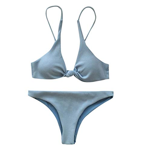 IZHH Damen Bikini Set, Sommer Push Up Gepolsterter BH Bandage Mode Split Knot Dreieck Badeanzug Beachwear Bademode Badeanzug Badeanzug ()