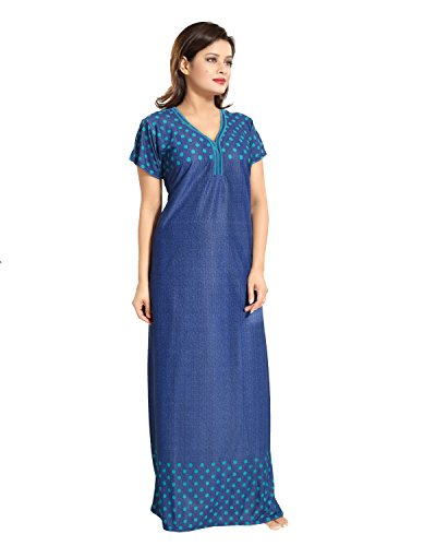 Tucute-Womens-Girls-Denim-Print-Base-with-Polka-Dots-Nighty-Nightdress-Night-Gown