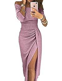 de2505e2a1021e ZIYYOOHY Damen Elegant Schulterfrei Abendkleider Midi Bodycon 3/4-Arm  Glänzend Hoch Geschnitten Kleider
