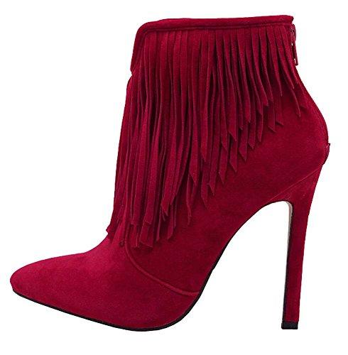2015 Herbst neue hochhackigen Stiefeletten mit Damen Stiefeln Martin Stiefel Kurz Stiefel Rote