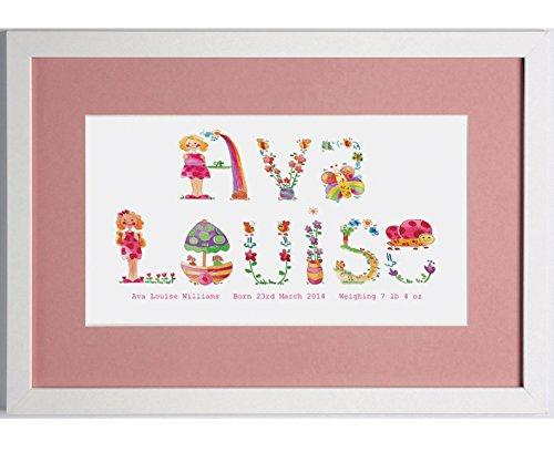 Nome-Cornice portafoto con cornice, motivo: lettere, colore: bianco con cornice e supporto, colore: rosa