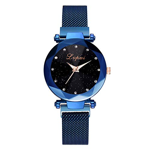 Uhren Damen,linqi1164 Damen Uhren Frauen Mode Diamant schneiden Sternenhimmel Zifferblatt Mesh Riemen Armband Armbanduhr Bracelet Women Watches