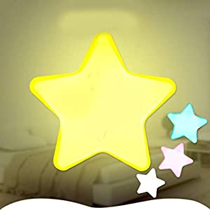 Yukio HomeFun - Mini Pentagram Nachtlicht LED, süße Nachttisch Lampe für Babyzimmer, Wohnräume, Schlafzimmer Wohnaccessoires (Gelb)