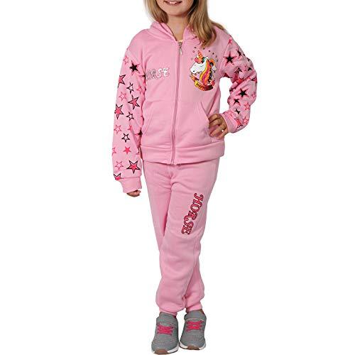 Candygirls Thermo Mädchen Jogginganzug Kinder Einhorn Sportanzug Jacke Freitzeitanzug Baby B545P (Rosa, 12 = 146)