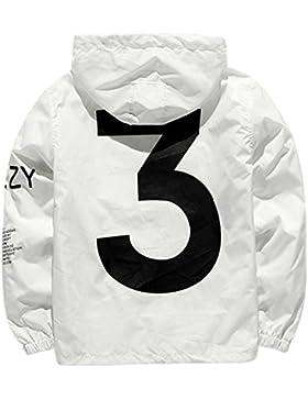 Sitila Unisex Waterproof Windbreaker con cremallera completa con capucha ligera chaqueta de lluvia