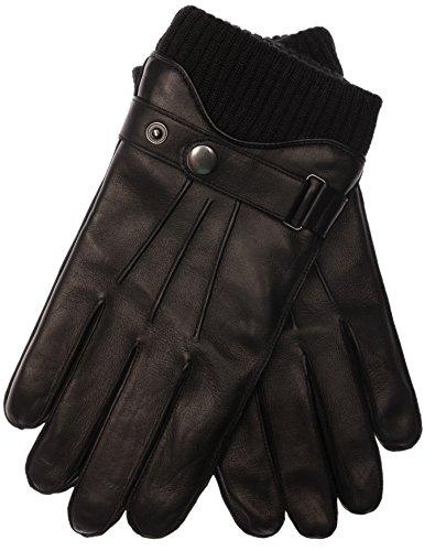 EEM Herren Leder Handschuhe HARRISON mit Touch-Funktion, Riegel und Wollstrickbund, 100% Lammnappaleder, warm, modisch, smartphone, schwarz S -