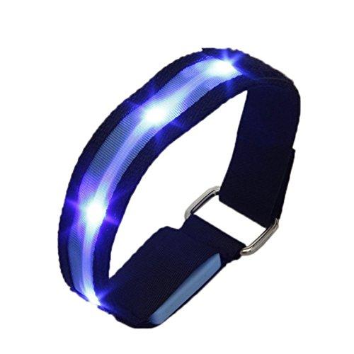 TOOGOO(R) Brazalete de tela intermitente LED reflexivo ajustable de ciclismo correr de alta visibilidad Azul