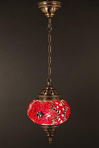 Mosaic Chandelier Set Single Globe, Handmade Authentic Tiffany Lighting Moroccan Lamp Glass Stunning Bedside Night Lights Brass&Glass Ottoman Turkish Style
