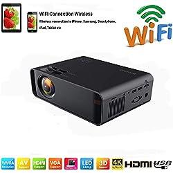 SOTEFE®WiFi Vidéoprojecteur-Mini Projecteur Portable 7000 Lumens Full HD 1080P Rétroprojecteur Sans fil Pr iPhone/Samsung/Hauwei Smartphone Haut-parleurs Stéréo Multi-connexion HDMI/USB/VGA/AV/TF Cart