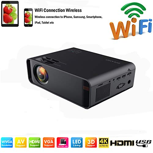 SOTEFE® Mini LED Proyector Portable 7000 Lumens - WiFi Proyector Portátil Full HD 1080P Video Multimedia Para iPhone/Samsung/Sony/Hauwei Smartphone Compatible con HDMI/USB/Tarjeta SD/VGA/AV/TV Box/PS4