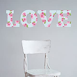 LOVE Shabby Chic Style Wall Sticker - Floral vintage art decal