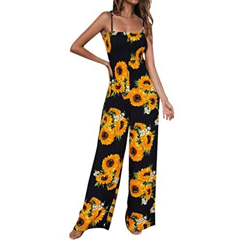 kolila Camisole Jumpsuit Onesie Damen Sleeveless Sling Sonnenblume Gedrucktes Weites Bein Hohe Taille Jumpsuit Hose(Marine,S) - Sonnenblume Bubble